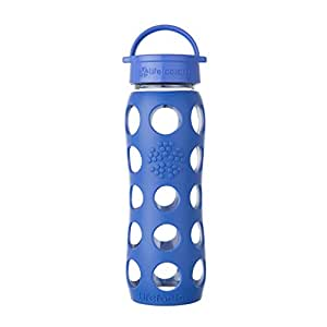 Lifefactory 22-Ounce BPA-Free Glass Water Bottle with Leakproof Classic Cap and Silicone Sleeve, Cobalt
