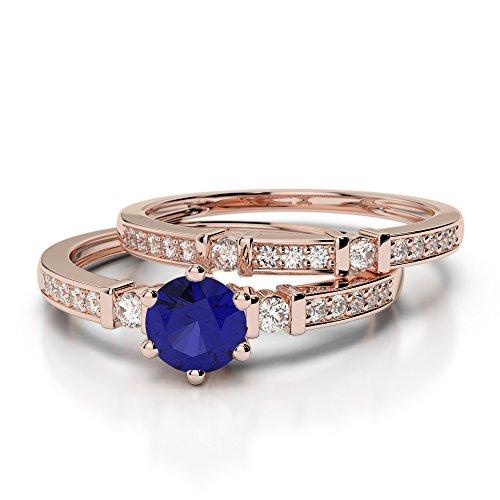 Or Rose 18carats 0,50CT G-H/VS sertie de diamants ronds Cut Saphir et mariée Bague de fiançailles et ensemble de Agdr-1150