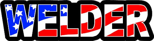 (3 - Welder US Flag Hard Hat/Helmet Stickers 1