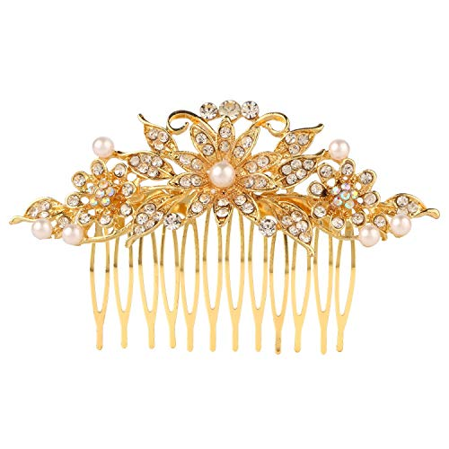 Efulgenz Indian Bollywood White Crystal Pearl Gold Plated Floral Hair Pin Accessory for Girls Women Brides Bridemaids ()