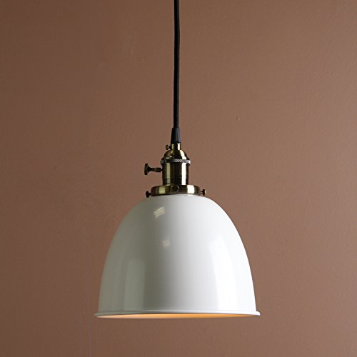 Permo 1-Light Cord-Hung Pendant Light with Metal Dome Shade (White) ()