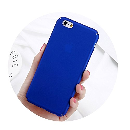 Phone Case For iPhone 6 6s 7 8 Plus Plain Wine Red Frosted Back Cover Cases Blue For iPhone 5 5s SE ()