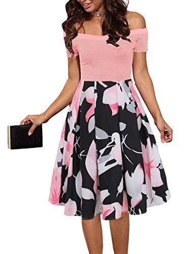 EZBELLE Womens Summer Off Shoulder Short Sleeve Floral Midi Formal Cocktail Skater Dress Pink Black 2X-Large]()