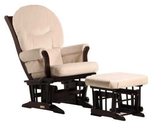 ULTRAMOTION by Dutailier, Sleigh Glider with Round Cushion and Ottoman Glide/Lock/Recline/Espresso/Beige
