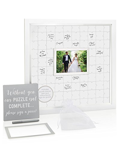 Pearhead Puzzle, White, Unique Alternative, Perfect Wedding Keepsake Guestbook Frame