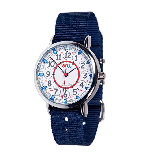 EasyRead Time Teacher Children's Watch, Red Blue 12/24 Hour Face, Navy Blue Strap (The Cheapest Watch In Kids)