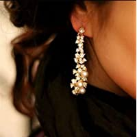 Sumanee Pearl Rhinestone Women Lady Crystal Dangle Chandelier Earrings Jewelry
