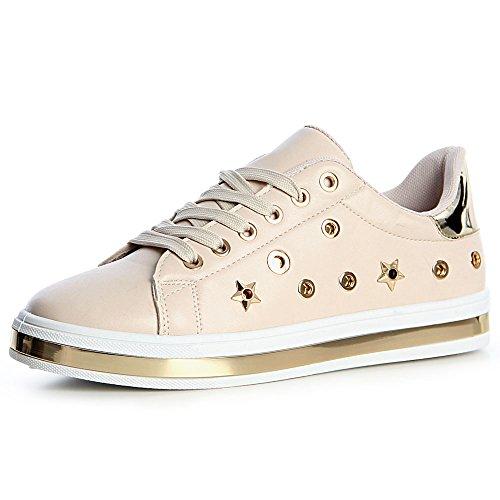 Beige Chaussures Femmes Topschuhe24 Sneaker De Sport 5qpn0XCx