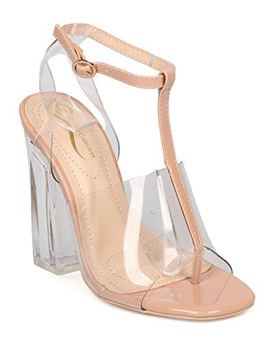 [Women T-Strap Lucite Heel Sandal - Dressy, Dancer, Costume - Block Heel Pump - GD47 By Alrisco - Nude (Size:] (Aztec Dancers Costumes)
