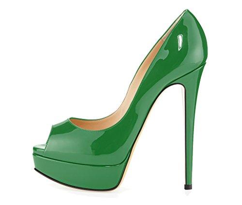 Guoar - Zapatos con tacón Mujer Verde