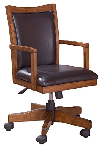 Ashley Furniture Signature Design - Cross Island Swivel Desk Chair - Casters - Casual - Medium Brown Finish - Brown Faux Leather -