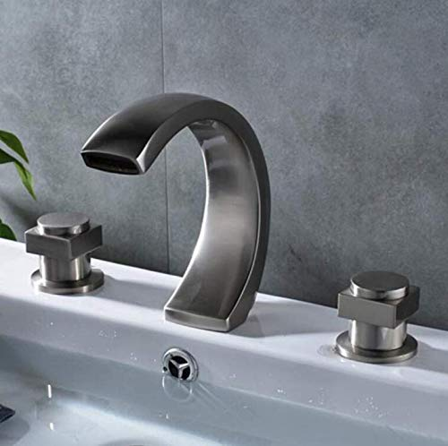 Kitchen Fauct Nickel Brushed Widespread 3Pcs Solid Brass Bathroom Basin Sink Faucet Dual Handles Mixer Tap