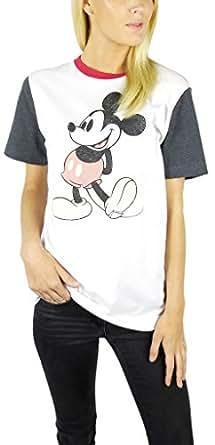 Disney Womens Mickey Mouse Varsity Football Tee Medium Charcoal/White/Red