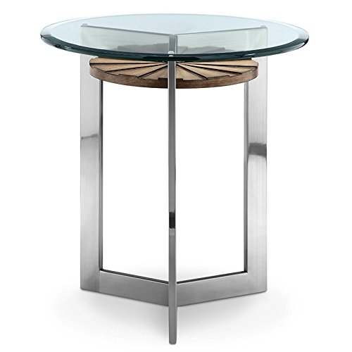 Magnussen T3805-05 Rialto T3805 Rialto Contemporary Brushed Nickel Round End Table - Magnussen Glass Table