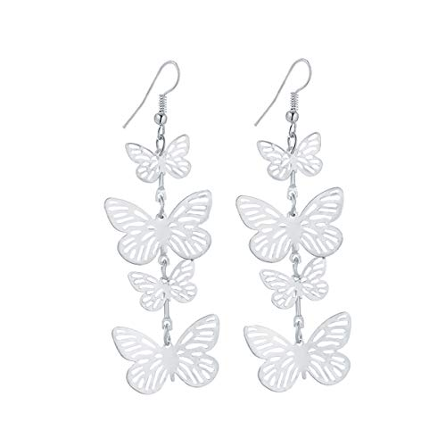 - IDB Delicate Filigree Dangle Flying Butterfly Hook Earrings - Available in Silver and Gold Tones (Silver Tone)