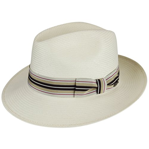 Bailey of Hollywood Mens Creel Straw Fedora Trilby Hat with Striped Band