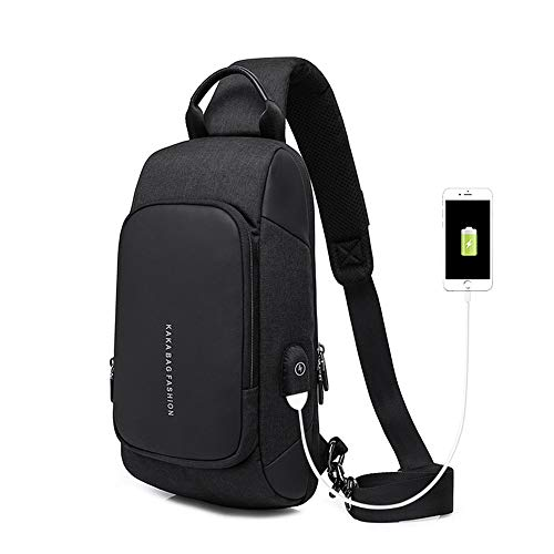 Men's Chest Bag Fashion Diagonal Bag European and American Style Small Bag USB Charging Chest Bag (Color : Black, Size : M)