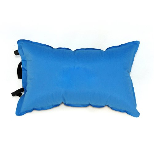 Tera PVC Self Inflatable Spongy Pillow Blue for Camping Hiki