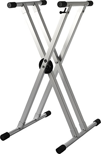 Strukture SK2XAKD-SV Double Braced Aluminum Keyboard Stand with Trigger, Anodized Silver by Strukture