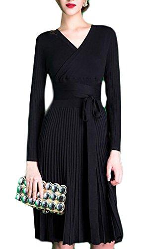 Dress Jaycargogo Swing Womens Long V Midi Black Sleeve Neck Elegant ZgwZqPU