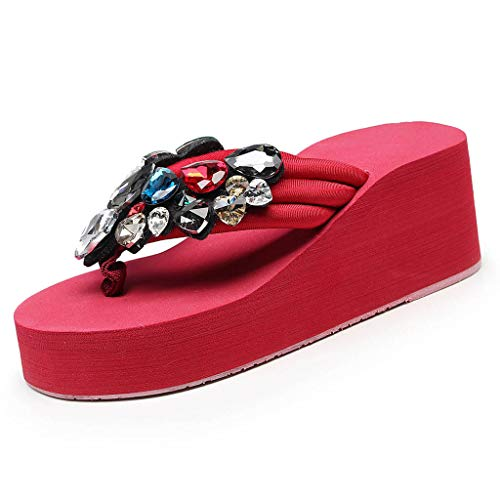 Cenglings Women Flip Flops Sandals Solid Wedges Crystal Clip Toe Sandals Slippers Beach Shoes High Heel Pumps Red (Sandals Patent Leather Guess)