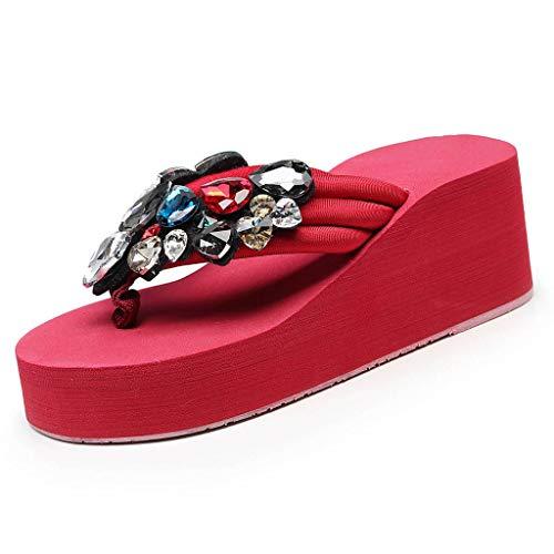 Strass Été Chaussures Tongs Sandales Rouge Femme Casual Piscine Compensées Plage w4qfpZ