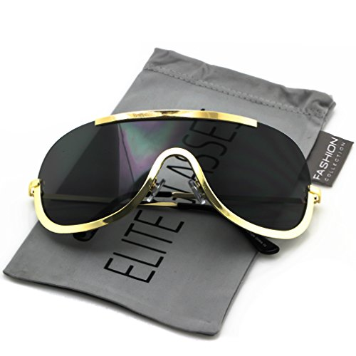 Elite OVERSIZED XX Large SHIELD Half Face Large Size Black Gold Sun Glasses (Black Gold, 5.6) (Shield For Sunglasses Men)