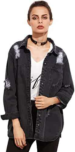 27ec0212ec SheIn Women's Boyfriend Distressed Button up Long Sleeve Denim Jacket