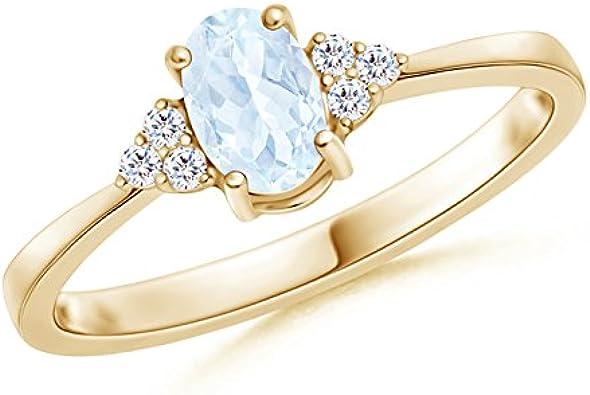 Solitario clásico Oval Aquamarine anillo con diamantes trío