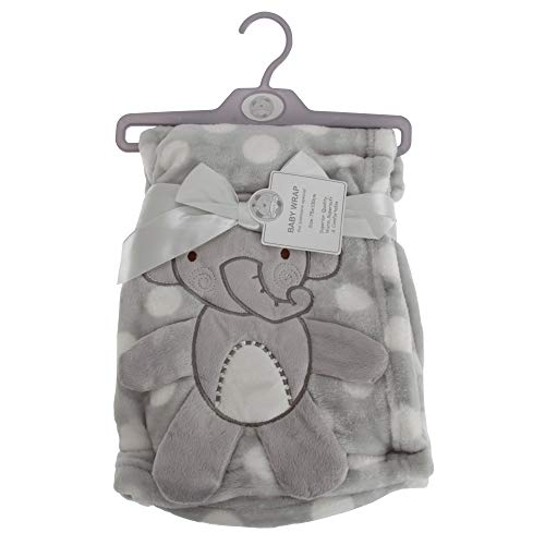 Snuggle Baby Baby Boys/Girls Polka-Dot Elephant Wrap (29.5in x 39in) (Gray/White)