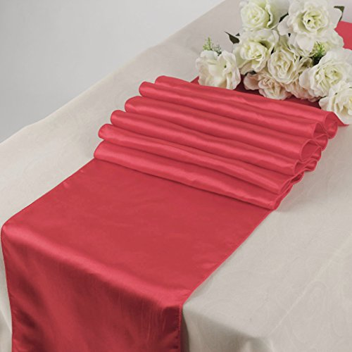 MDS Pack Of 10 Wedding 12 x 108 inch Satin Table Runner For Wedding Banquet Decoration- Coral