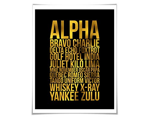 Alpha Bravo Charlie Gold Foil Art Print. 36 Colours/3 Sizes. Phonetic Alphabet. Aviation. NATO Spelling. Military Pilot Gift. ()