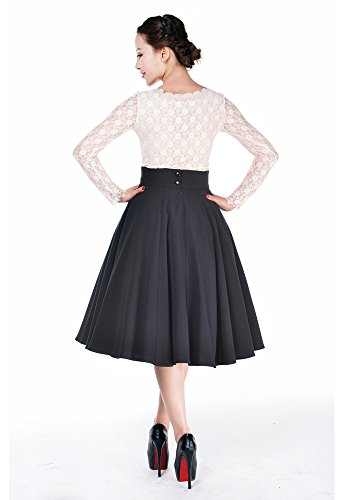 Plus Womens Pinup Lovely Office Lady High Waist Swing Full Circle Skirt (16 (EU18), Black)