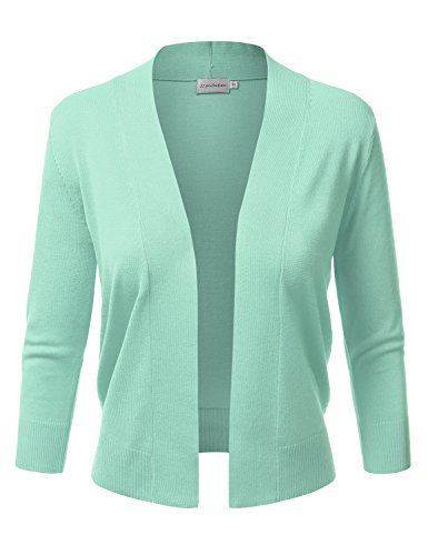 JJ Perfection Women's Basic 3/4 Sleeve Open Front Cropped Cardigan MINT4 XL