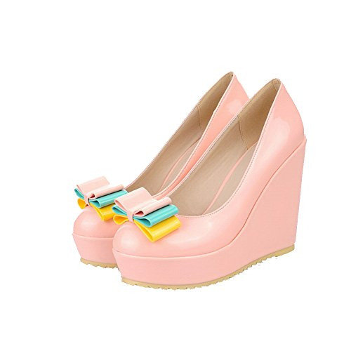 Pumps Round Closed Pink High Solid Pull Heels Soft Material Toe On Shoes Womens AllhqFashion wtqxBR6Pg