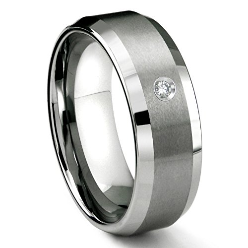 Tungsten Carbide 8MM Satin Finish Beveled Diamond Solitaire Wedding Band ring Sz 15.0 (Mens Band Diamond Solitaire)