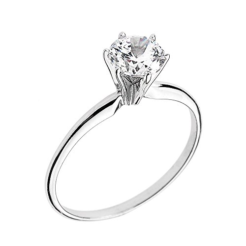 10k White Gold Elegant Cubic Zirconia Solitaire Engagement Ring(Size (10k Gold Solitaire)