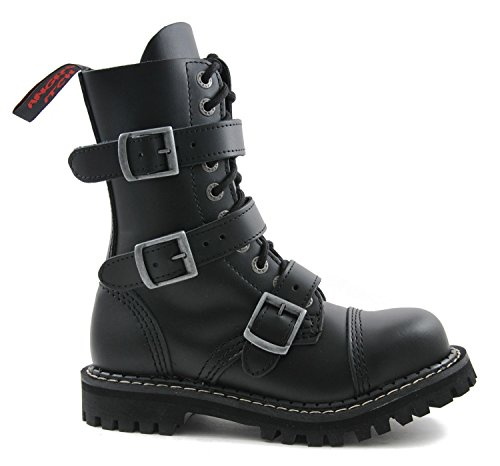 ANGRY ITCH - 10-Loch Gothic Punk Army Ranger Armee Leder Schuhe mit Stahlkappe