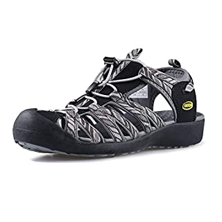 GRITION Women Athletic Hiking Sandals Closed Toe Water Shoes Adventure Outdoor Sport Trail Summer (6 US, Grey/Black)