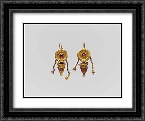 Greek Culture - 24x20 Black Ornate Frame and Double Matted Museum Art Print - Pair of Gold, Garnet, and Glass Paste Disk and Pendant Earrings
