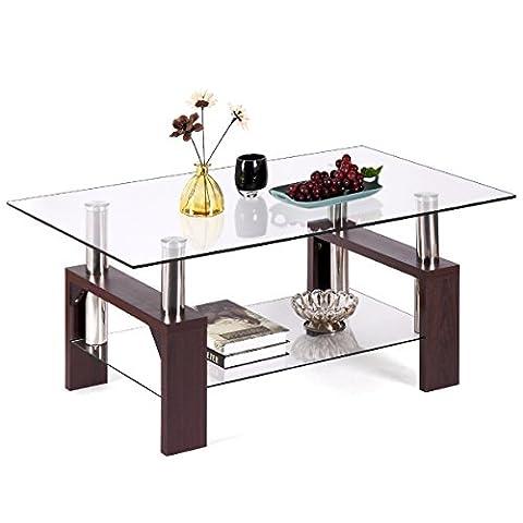 JAXPETY Rectangular Glass Coffee Table Shelf Wood Living Room Furniture Chrome Base Walnut (Rectangular Table Base)
