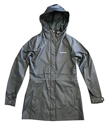 Columbia Womens Shine Struck II Waterproof Rain Mid Hooded Jacket Trench Coat (S, Steel Blue) ()