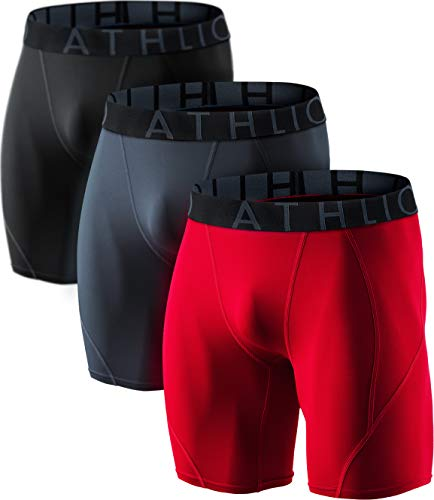 (ATHLIO Men's (Pack of 3) Cool Dry Compression Active Sports Baselayer Shorts, 3pack(bsp06) - Black/Charcoal/Red, X-Large)