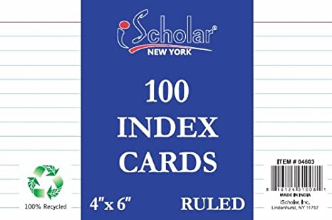 iScholar Index Cards, White, Unruled, 4 X 6-Inch, 100 Card Pack - 4602 04602
