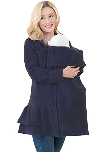 Sweet Mommy Ruffle Hem Maternity Zipped Hoodie with Baby Pouch (LL, Navy)