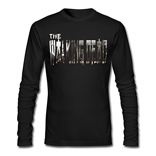 Men's The Walking Words Design Dead Logo T-shirt Long Sleeve Black (Dancing With The Stars Costumes 2015)