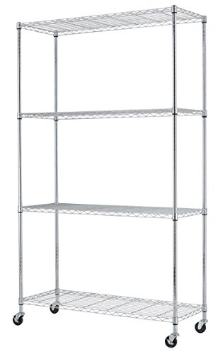82 X48 X18  Commercial 4 Tier Shelf Adjustable Steel Wire Metal Shelving Rack