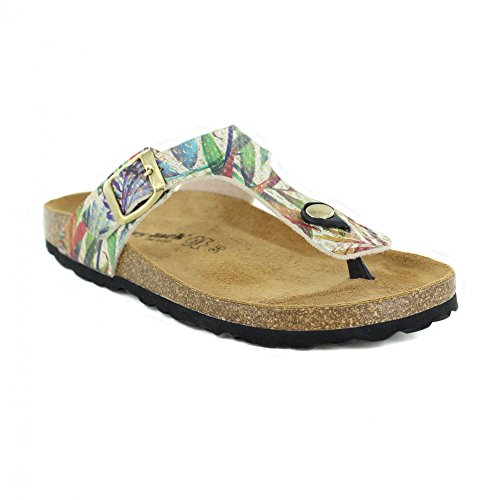 Country Jack Womens Abia Toe-Post Mule Sandals 0027 Gold Multi 7QxoLbUO