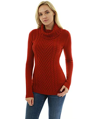 PattyBoutik Women Cowl Turtleneck Cable Knit Sweater (Red Small)