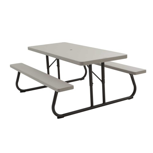 Lifetime 22119 Folding Picnic Table, 6 Feet, Putty - Picnic Table Umbrella